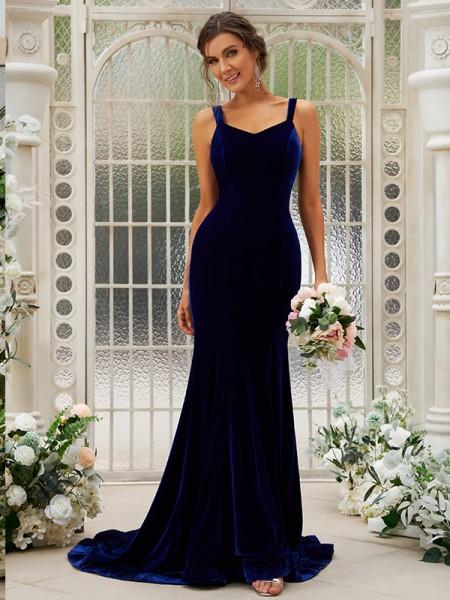 Trumpet/Mermaid Velvet Ruffles Straps Sleeveless Sweep/Brush Train Bridesmaid Dresses