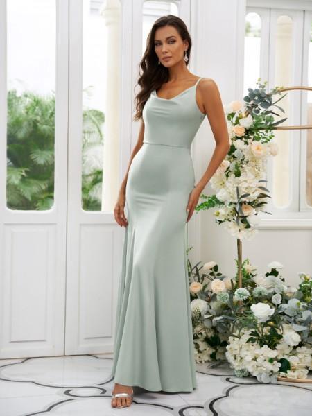 Sheath/Column Charmeuse Ruffles Square Sleeveless Floor-Length Bridesmaid Dresses