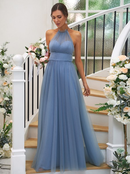 A-Line/Princess Tulle Ruched Halter Sleeveless Floor-Length Bridesmaid Dresses