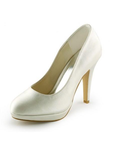 De las mujeres Beautiful Satén Tacón de Aguja Punta Cerrada Plataforma Ivory Zapatos de boda
