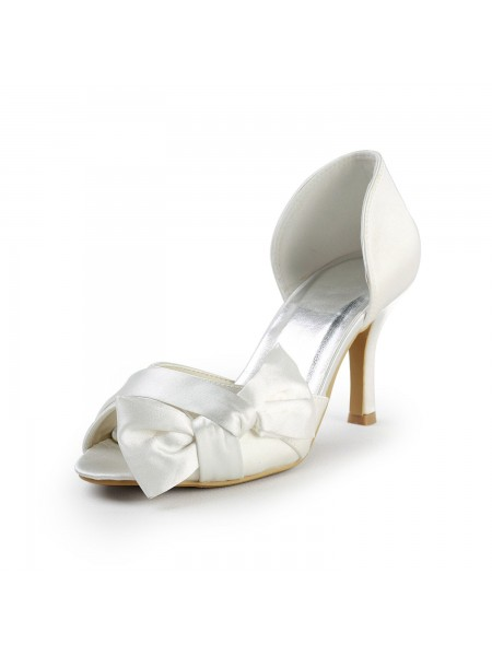 De las mujeres Satén Tacón de Aguja Zapato Abierto por Delante Con Lazos Blanco Zapatos de boda