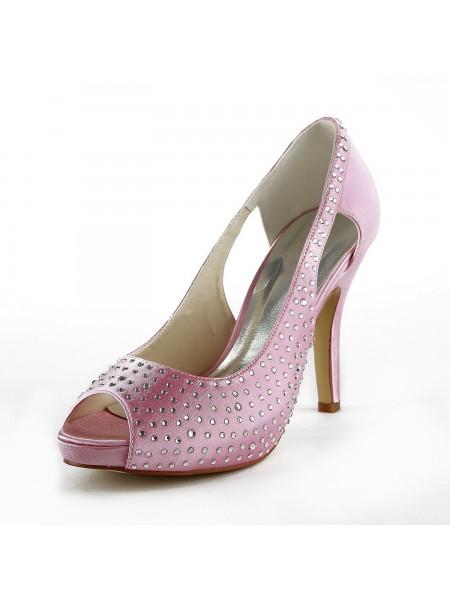 De las mujeres Beautiful Satén Tacón de Aguja Zapato Abierto por Delante Con Estrás Pink Zapatos de boda