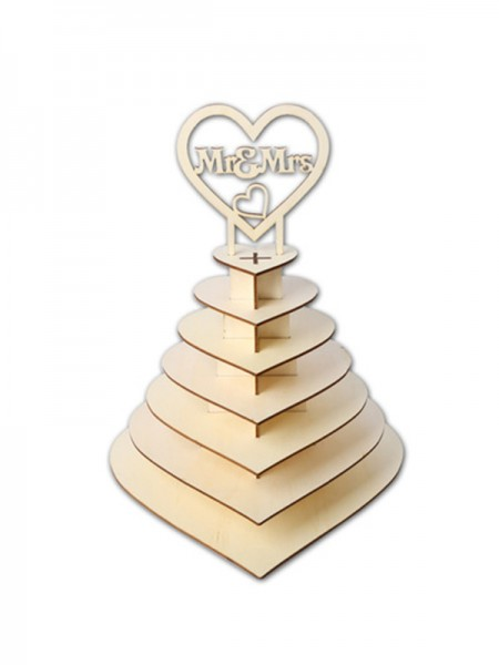 Soporte de exhibición de chocolate para bodas de madera delicada