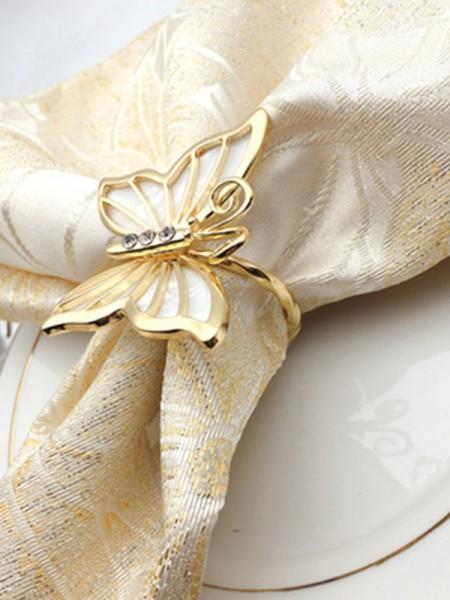 Hermosa aleación con servilleteros de diamantes de imitación (6 piezas)