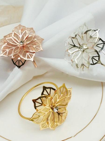 Metal fascinante con servilleteros de diamantes de imitación (12 piezas)