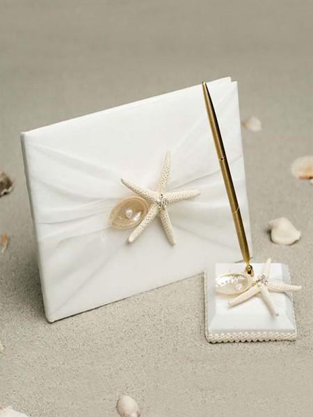 Maravilloso Paño Con Estrella de mar/Cáscara Libro de visitas & Bolígrafo Conjunto & anillo Almohada & Flor Cesta