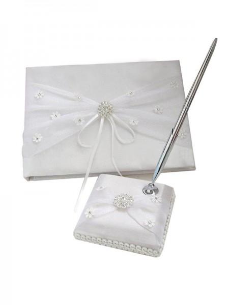 Brillante Paño Con Diamante de imitación/Aplique Libro de visitas & Bolígrafo Conjunto