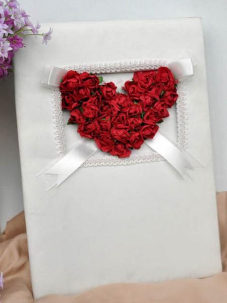 Romántico Paño Con Hecho a mano Flor Libro de visitas