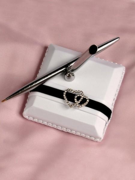 Delicado Paño Con Diamante de imitación Libro de visitas & Bolígrafo Conjunto