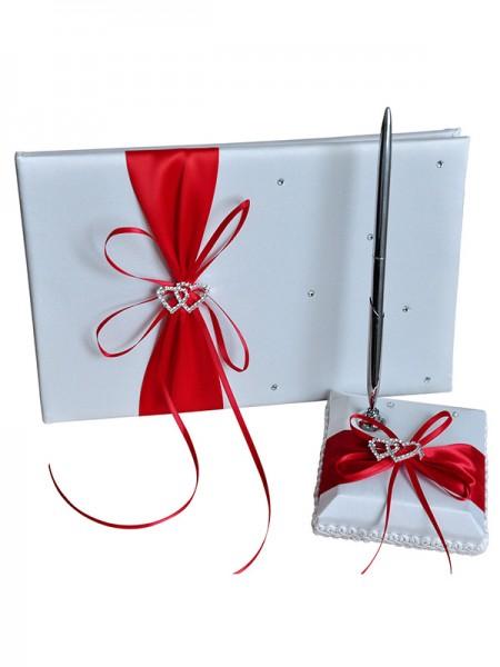 Maravilloso Paño Con Diamante de imitación Libro de visitas & Bolígrafo Conjunto