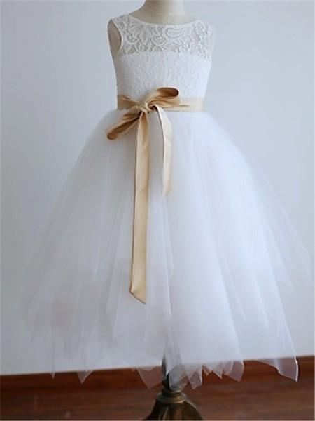 Corte en A/Princesa Escote en U Sin Mangas Fajas/Lazos/Cinturones Hasta el Suelo Tul Vestidos de Arras