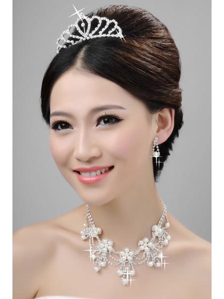 Elegante Aleación Clear Cristales Perlas Tocados de boda Collares pendientes determinados