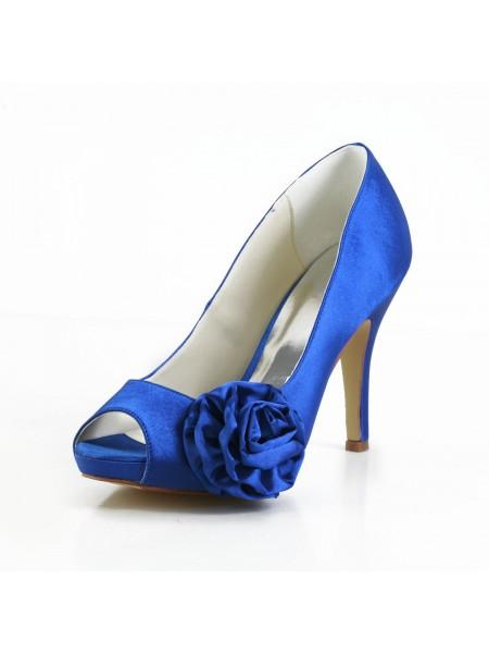 De las mujeres Elegant Satén Zapato Abierto por Delante Tacón de Aguja Pumps Con Flores Blanco Zapatos de boda