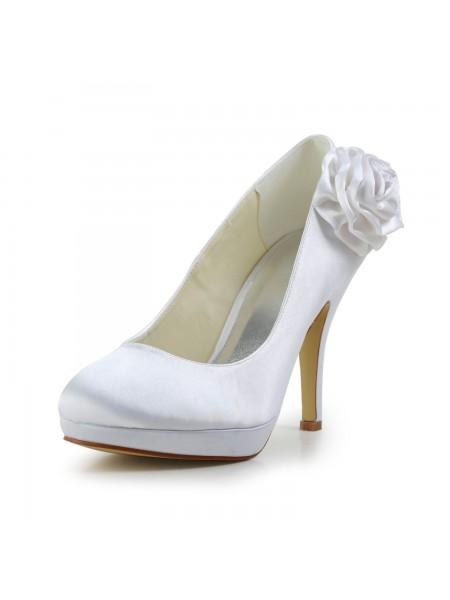 De las mujeres Elegant Satén Tacón de Aguja Pumps Con Flores Blanco Zapatos de boda
