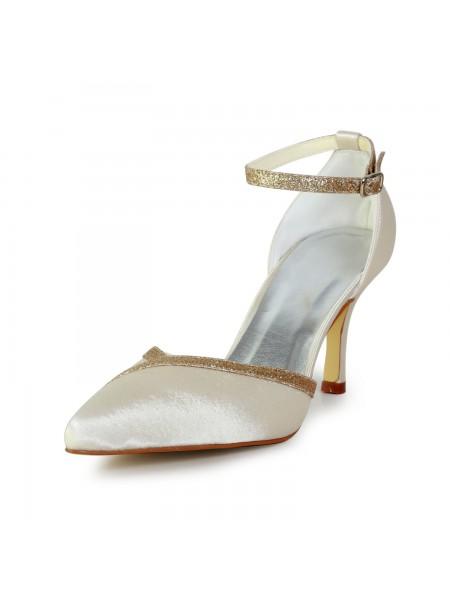 De las mujeres Elegant Satén Tacón de Aguja Con Sparkling Glitter Gold Zapatos de boda