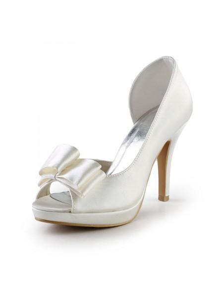 De las mujeres Elegant Handmade Sweet Cuero Butterfly Ivory Wedding High Heel Zapatos