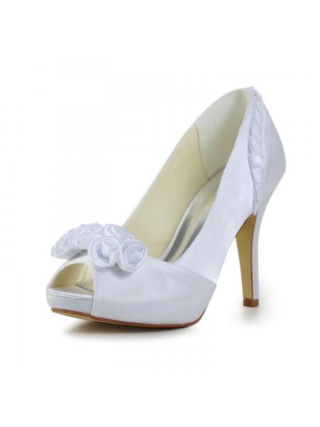 De las mujeres Fabulous Satén Tacón de Aguja Pumps Con Flores Blanco Zapatos de boda
