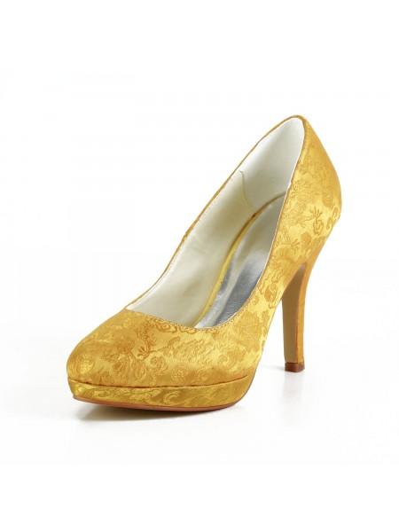 De las mujeres De moda Satén Tacón de Aguja Punta Cerrada Plataforma Gold Zapatos de boda