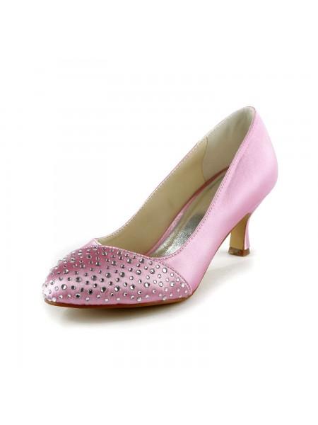 De las mujeres De moda Satén Tacón de Aguja Punta Cerrada Con Estrás Pink Zapatos de boda
