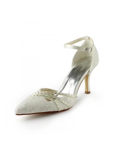 De las mujeres Gauze Tacón de Agujas Closed-toe Abalorios Blanco Zapatos de boda