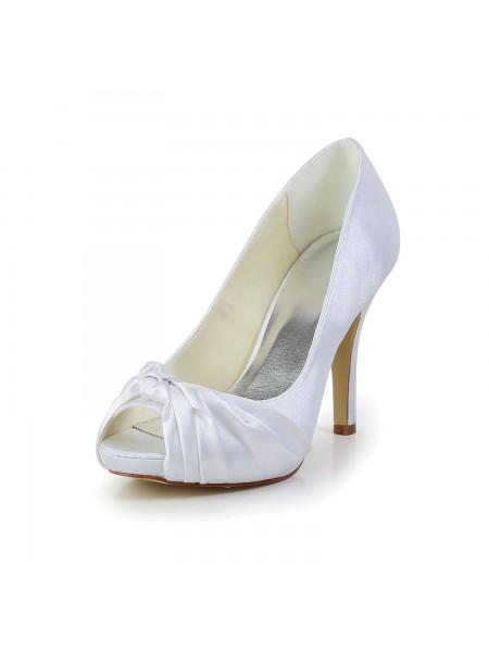 De las mujeres Maravilloso Satén Tacón de Aguja Zapato Abierto por Delante Blanco Zapatos de boda