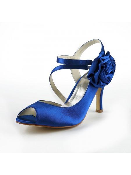 De las mujeres Maravilloso Satén Tacón de Aguja Zapato Abierto por Delante Con Flores Blanco Zapatos de boda