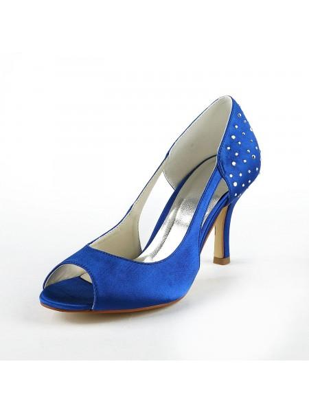 De las mujeres Gorgeous Satén Tacón de Aguja Zapato Abierto por Delante Con Estrás Tacones altos