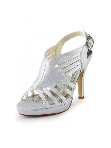 De las mujeres Gorgeous Satén Tacón de Aguja Sandals Con Buckle Blanco Zapatos de boda