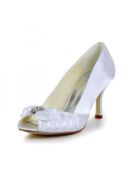 De las mujeres Graceful Lazos Tacón de Aguja Satén Blanco Zapatos de boda