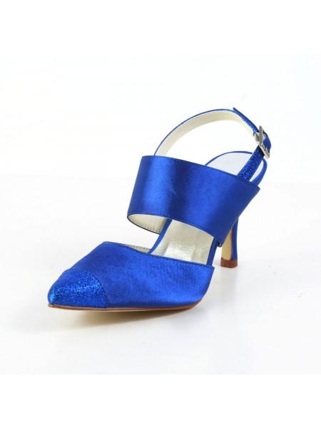 De las mujeres Graceful Satén Tacón de Aguja Sandalias Punta Cerrada Blanco Zapatos de boda