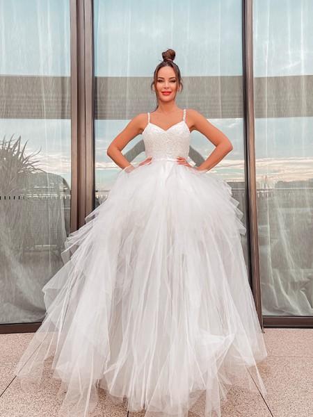 Corte en A/Princesa Sin Mangas Escote en V Tul Fruncido Hasta el Suelo Vestidos de Novia