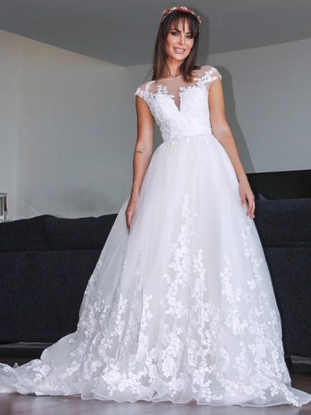 Corte en A/Princesa Tul Apliques Escote en V Sin Mangas Cola de Corte Real Vestidos de Novia