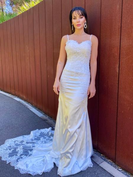 Trompeta/Sirena Satén Elástico Tirantes Espagueti Encaje Sin Largas Cola de Corte Real Vestidos de Novia