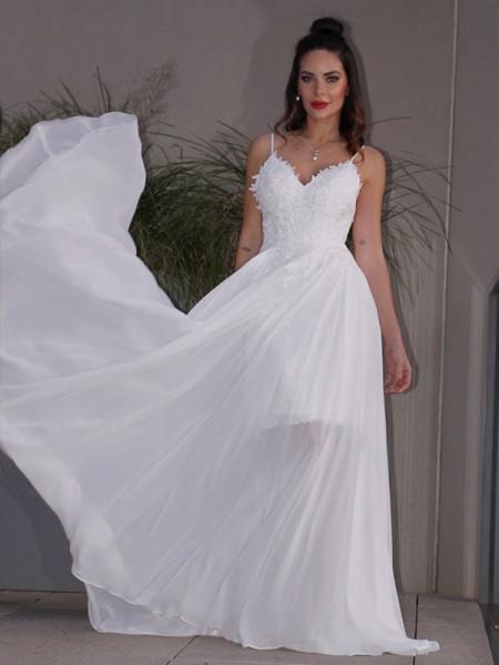 A-Line/Princess Applique Chiffon V-neck Sleeveless Sweep/Brush Train Wedding Dresses
