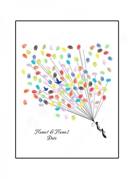 Encantador Personalizado Lona Huella dactilar Libro de visitas Con Tinta Almohadilla