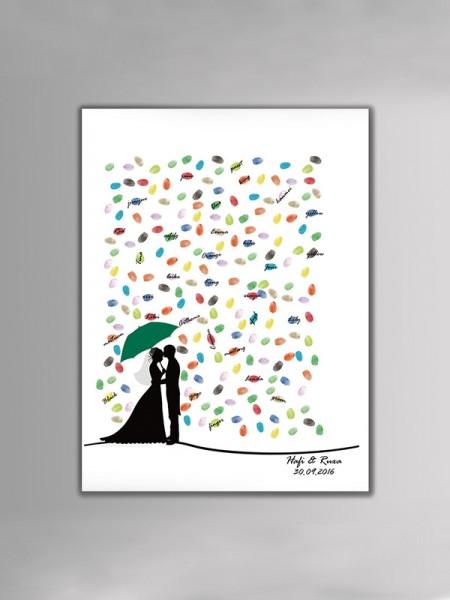 Espléndido Personalizado Lona Huella dactilar Libro de visitas Con Tinta Almohadilla