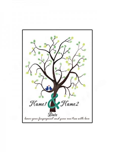 Maravilloso Personalizado Lona Huella dactilar Libro de visitas Con Tinta Almohadilla