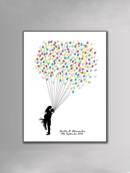 Personalizado Diseño Lona Huella dactilar Libro de visitas Con Tinta Almohadilla