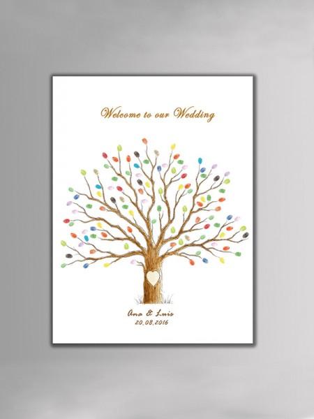 Excelente Personalizado Lona Huella dactilar Libro de visitas Con Tinta Almohadilla