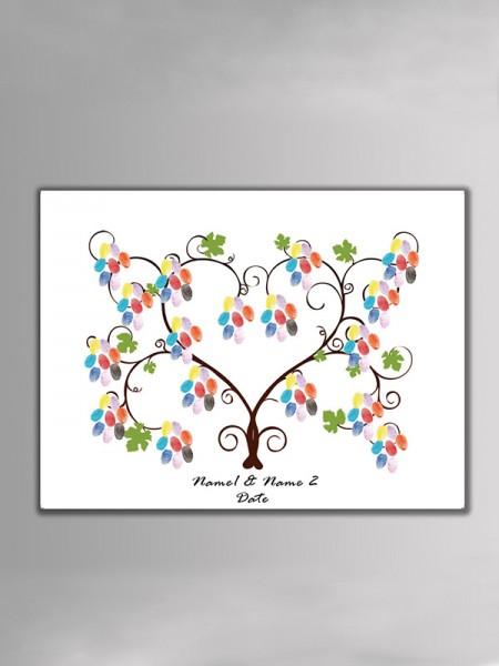 Novia Y Novio Diseño Lona Huella dactilar Libro de visitas Con Tinta Almohadilla