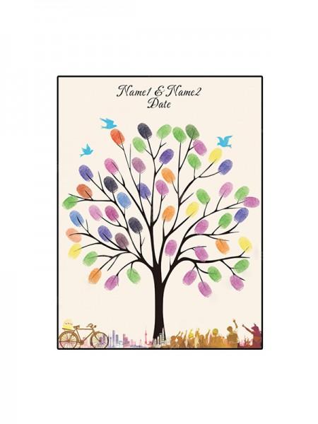 Lindo Personalizado Lona Huella dactilar Libro de visitas Con Tinta Almohadilla