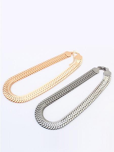 Oeste Personality Metallic thick chains Corto Gran venta Collar