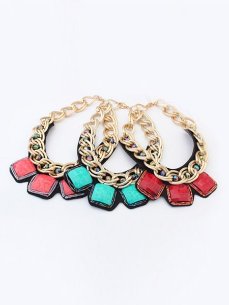 Oeste Hiperbólico Metallic thick chains Personality Gran venta Collar