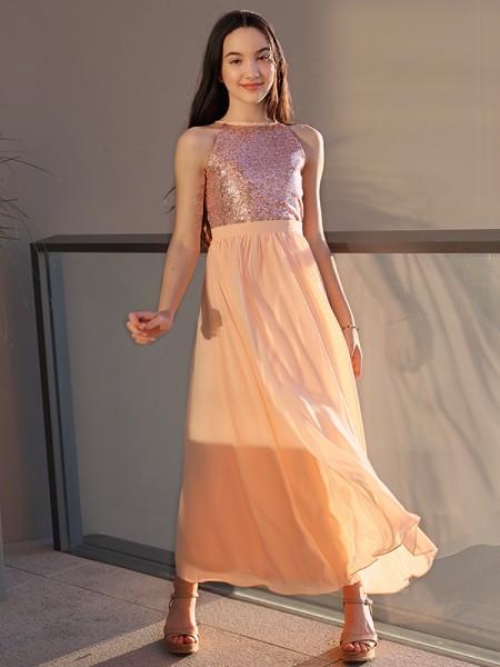 Corte A/Princesa Chifón Lentejuelas Escote redondo Sin Mangas Hasta el Tobillo Vestidos de Arras