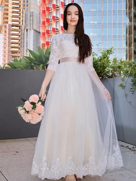 Corte A/Princesa Encaje Applique Escote redondo Manga 3/4 Hasta el Suelo Vestidos de Arras