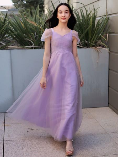 Corte A/Princesa Tul Fruncido Escote en V Manga Corta Hasta el Suelo Vestidos de Arras
