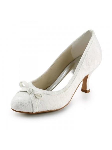 De las mujeres Satén Spool Heel Punta Cerrada Pumps Ivory Zapatos de boda Con Lazos