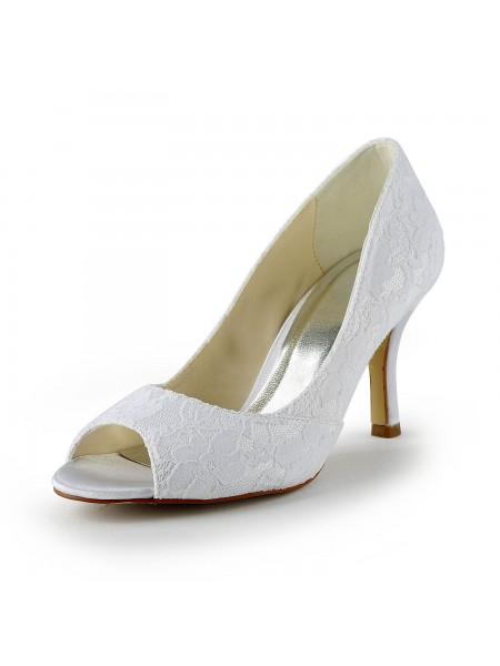 De las mujeres Encaje Satén Tacón de Aguja Zapato Abierto por Delante Sandalias Blanco Zapatos de boda