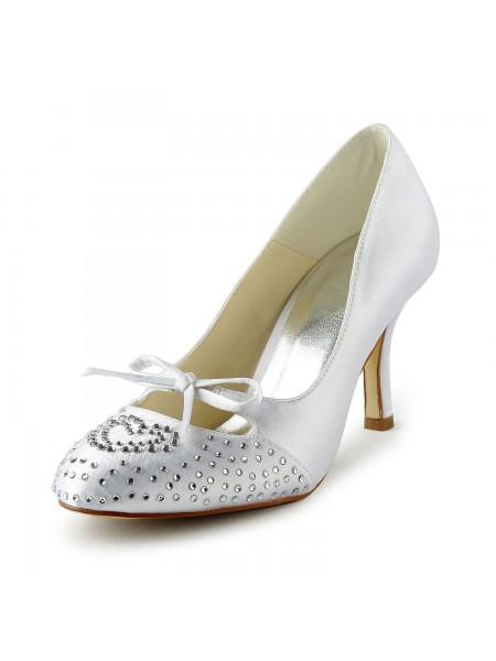De las mujeres Lovely Satén Tacón de Aguja Punta Cerrada Con Estrás Blanco Zapatos de boda