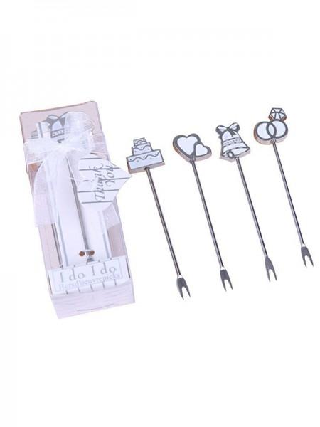 Regalos de boda-Preciosos tenedores de frutas de acero inoxidable (5 piezas)